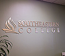 Southeastern College - Interior Reception Display with brushed finish