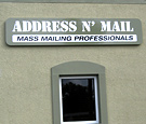 Address'n'Mail - Panned aluminum non-illuminated wall sign