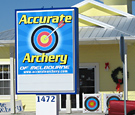 Accurate Archery - Internally-illuminated sign with reader board