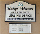 Baker Manor Apartments - Routed Dimensional Office Hours Wall Sign with secured removable hour slats