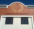 Choices in Learning - Flat-cut Dimensional Aluminum Letters and Wreath Icon