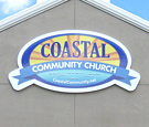 Coastal Community Church - Panned aluminum wall sign with digitally printed decoration