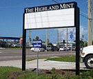 The Highland Mint - Pylon Sign with Changeable Copy