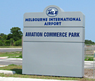 Aviation Commerce Park at Melbourne International Airport - Internally Illuminated Monument Sign with routed and backed decoration