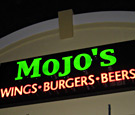 Mojo's Wings, Burgers & Beer - Channel Letters on Wireway
