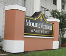 Mount Vernon Apartments - Non-Illuminated Monument Sign with Routed Dimensional Decoration