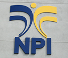National Pain Institute - Flat-cut acrylic logo spaced from wall at varying depths