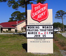 Salvation Army - Monument Sign with Readerbaord and LED-Illuminated Main ID - Part of a campus-wide sign package