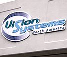 Vision Systems Melbourne, FL Branch - Routed PVC letters on Aluminum backer with UV protected digitally printed graphic curves